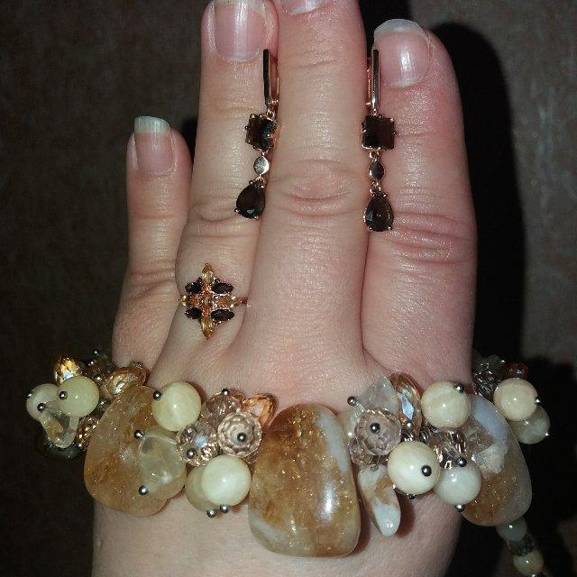 Золотое кольцо с цитринами и раухтопазами