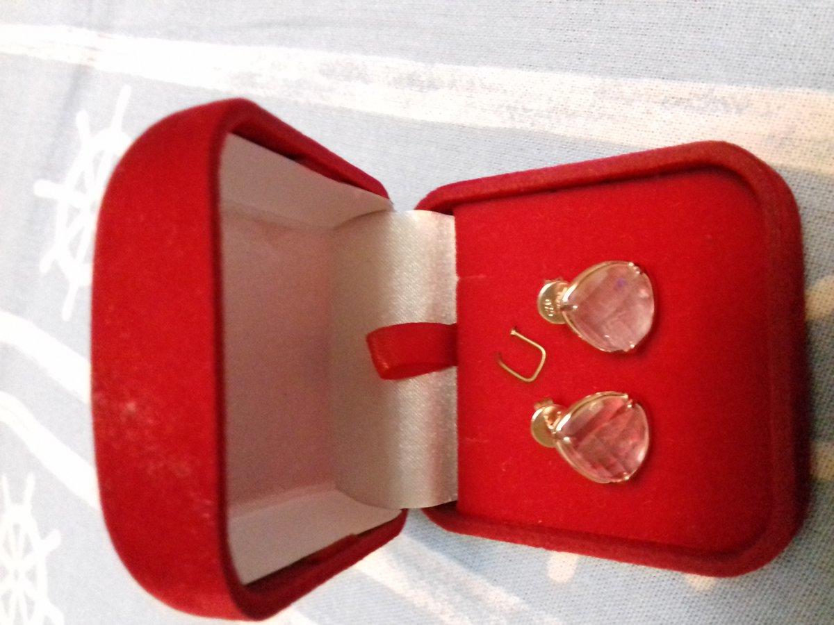 Серьги -гвоздики с розовым кварцем.