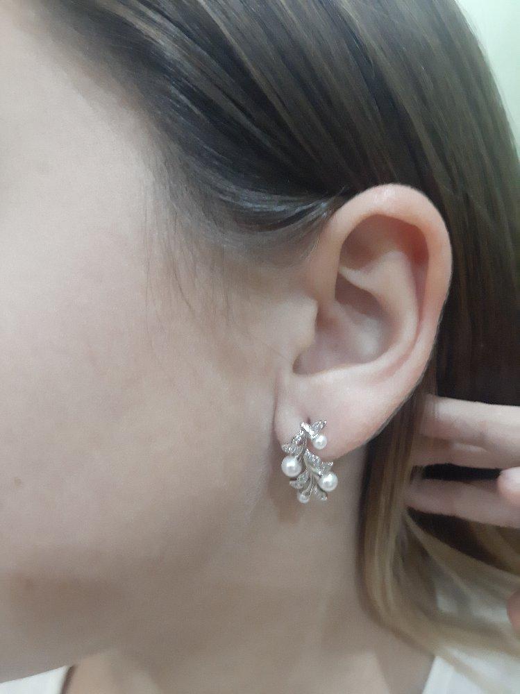 Нежные серебрянные серьги с иск жемчугом и фианитами