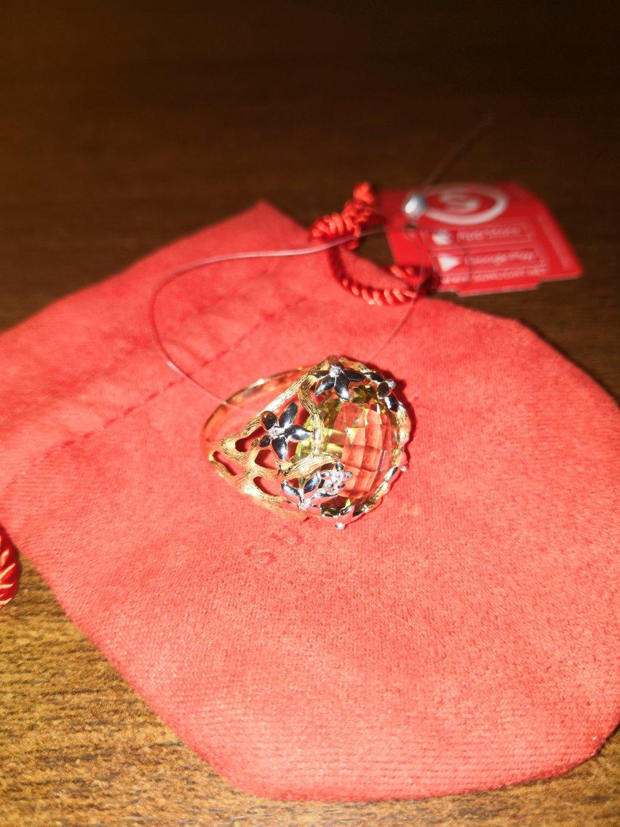 Кольцо с зелёным аметистом.