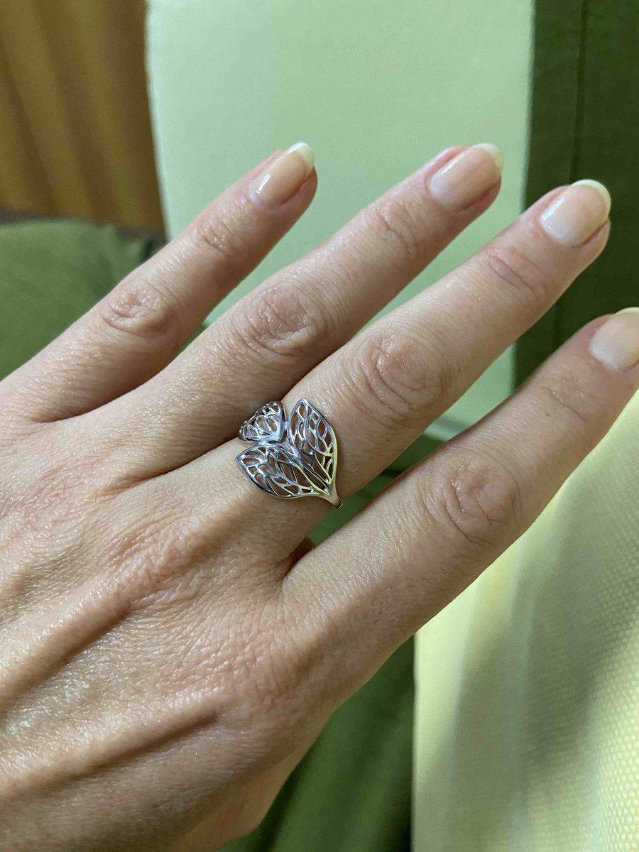 Серебряное кольцо - «три листа»)