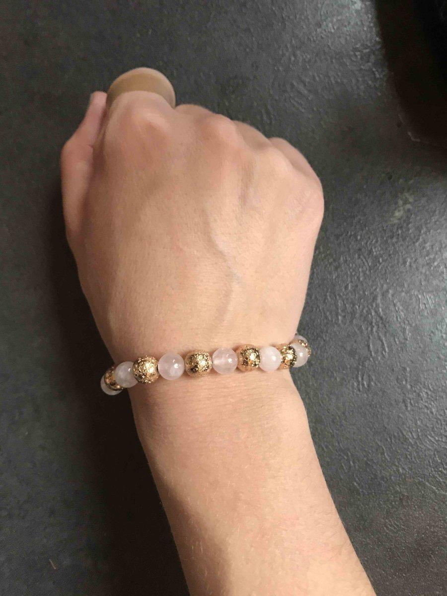 Изящный браслет с розовым кварцем
