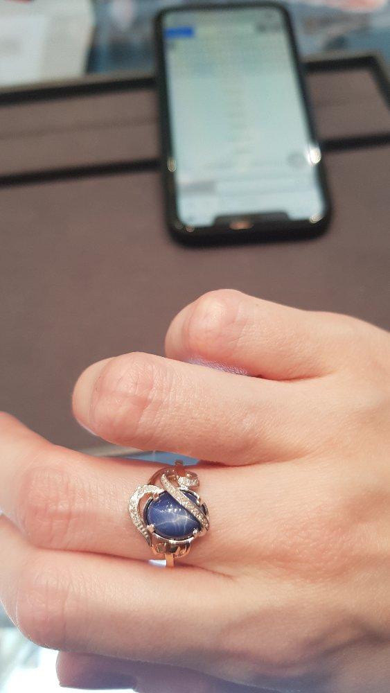 Кольцо со звездчатым сапфиром