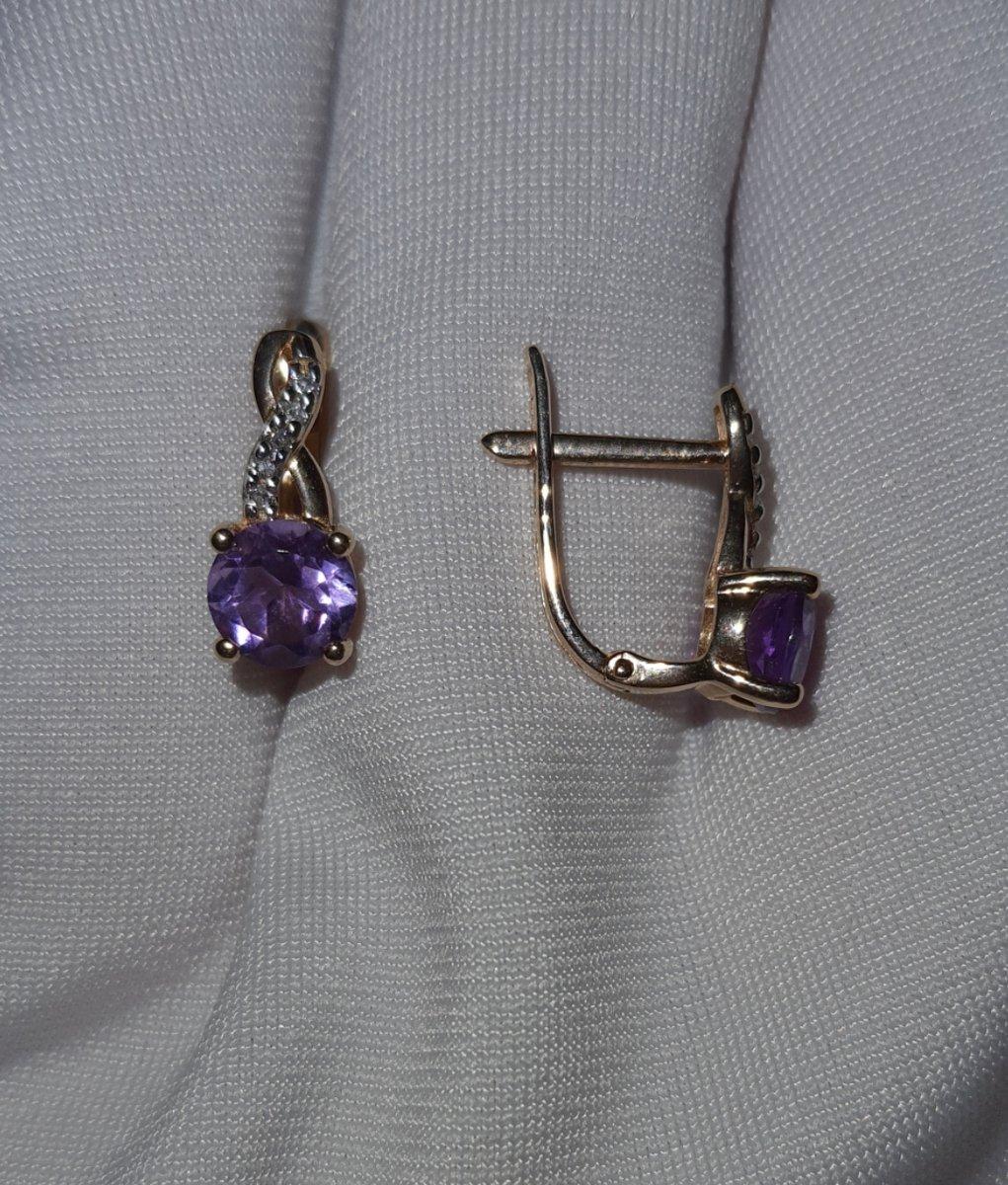 Золоты серьги с аметистом и бриллиантами