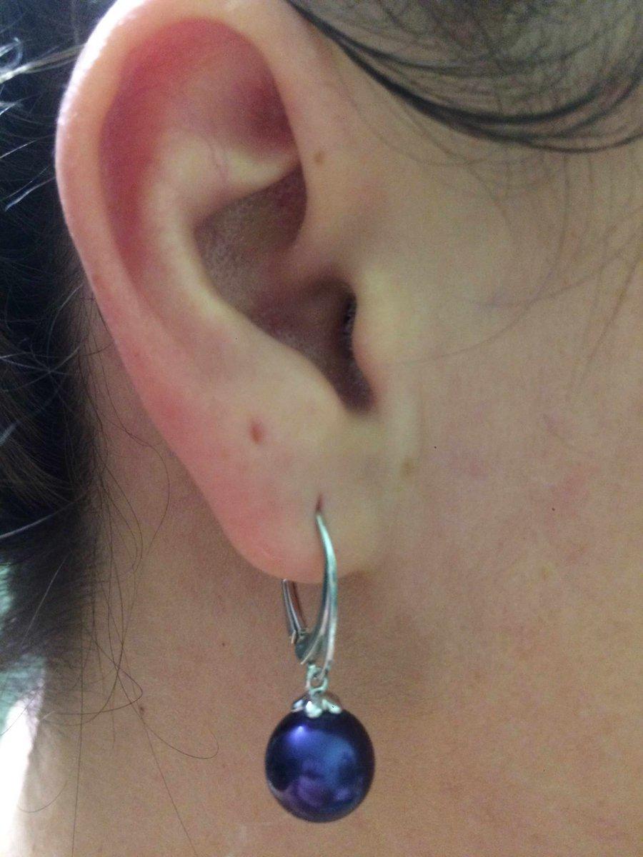 Серебряные серьги с « синим жемчугом»