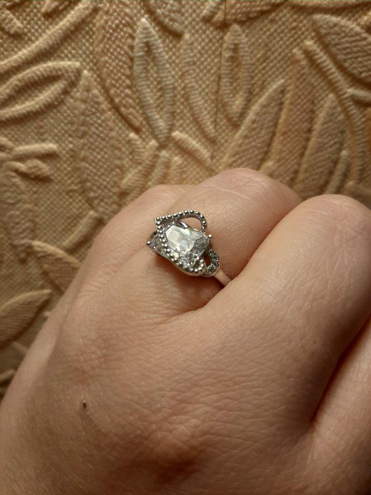 Кольцо с квадратным камнем и 4 фианитами, сверху имитация бульонок