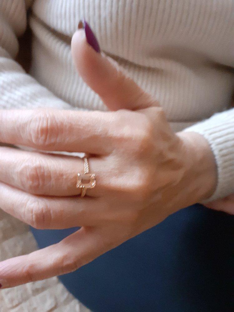 Комплект золотой серьги с кольцом