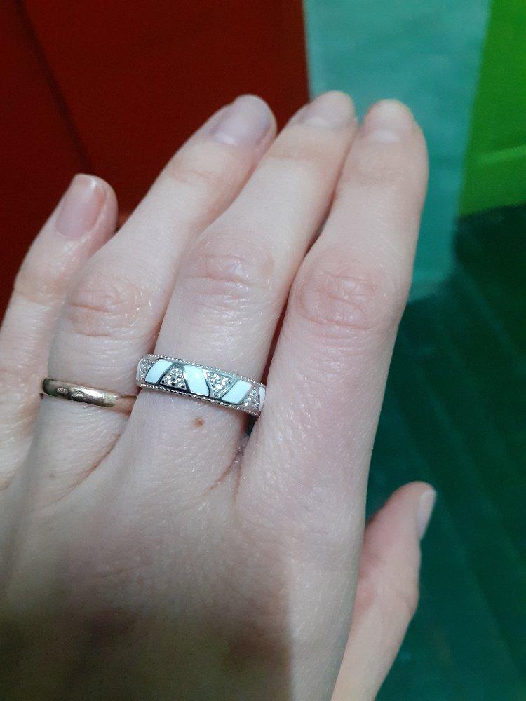 Кольцо эмаль-фианиты! огонь!