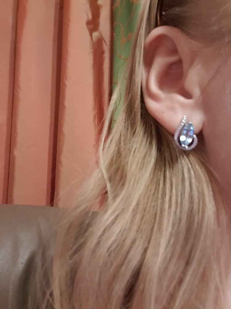 Серебрягые серьги с голубыми топазами и фианитами