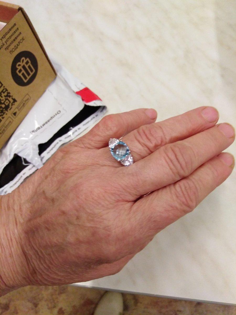 Серебряное кольцо 💍 с голубым топазом и фианитами