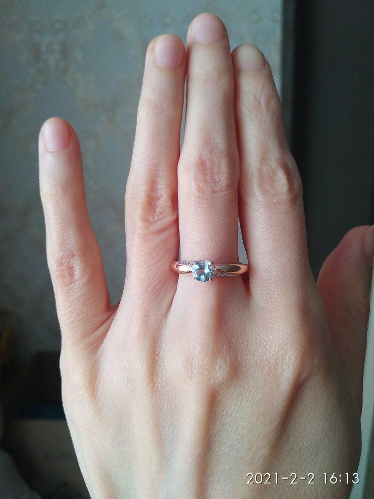 Золотое кольцо с голубовато-серым топазом