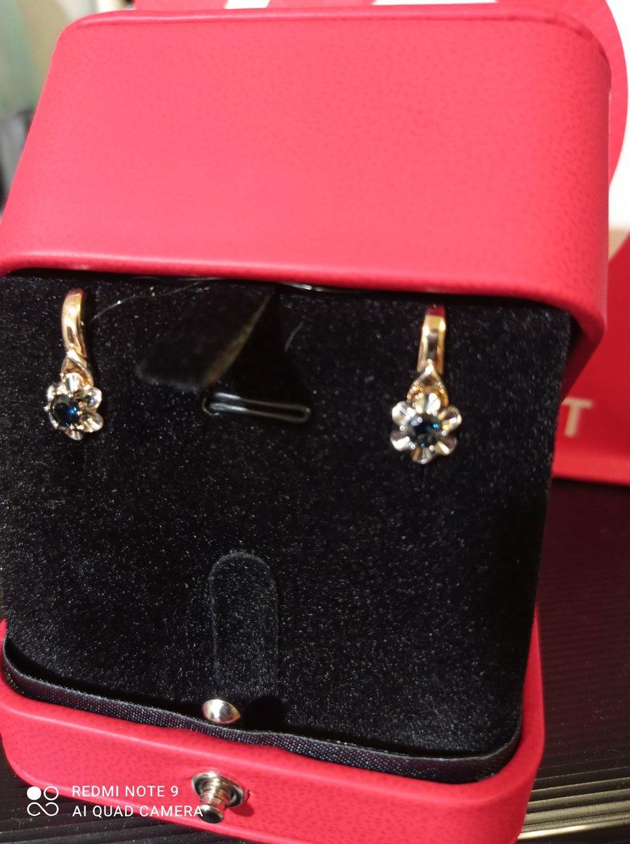 Золотые сережки с сапфирами