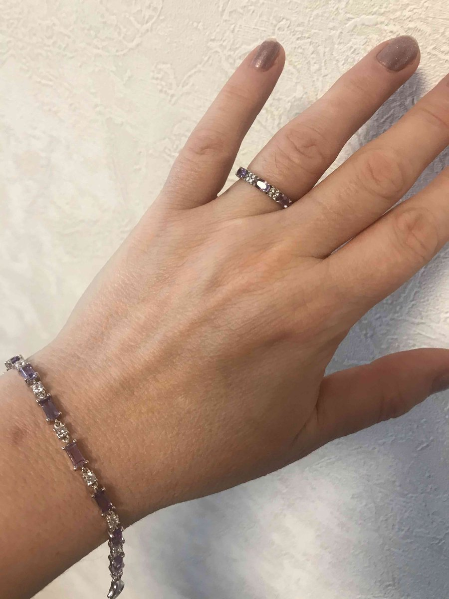 Серебрянный браслет с аметистами и фианитами