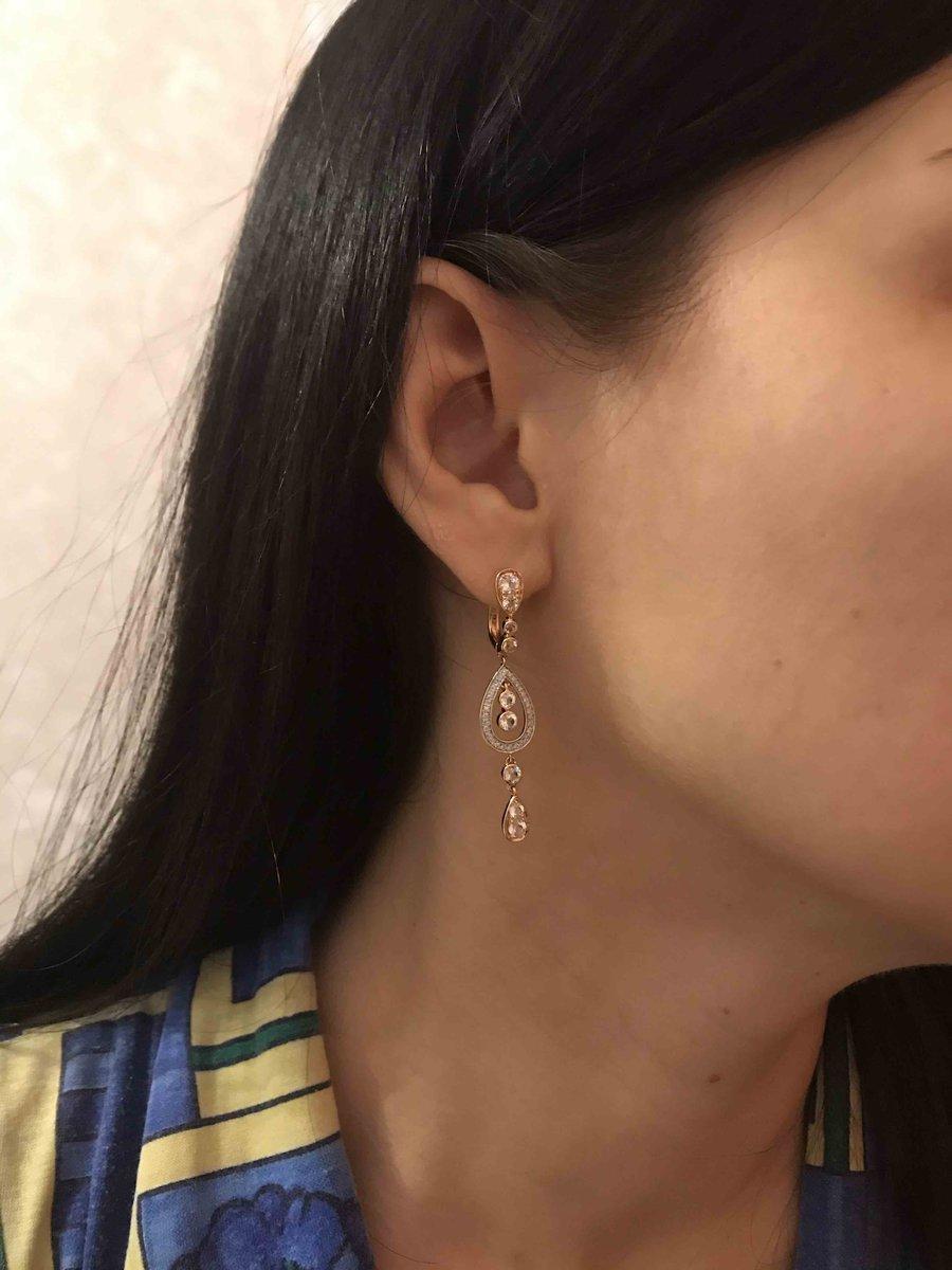 Серьги с топазами и бриллиантами - подарок для себя на 8 марта