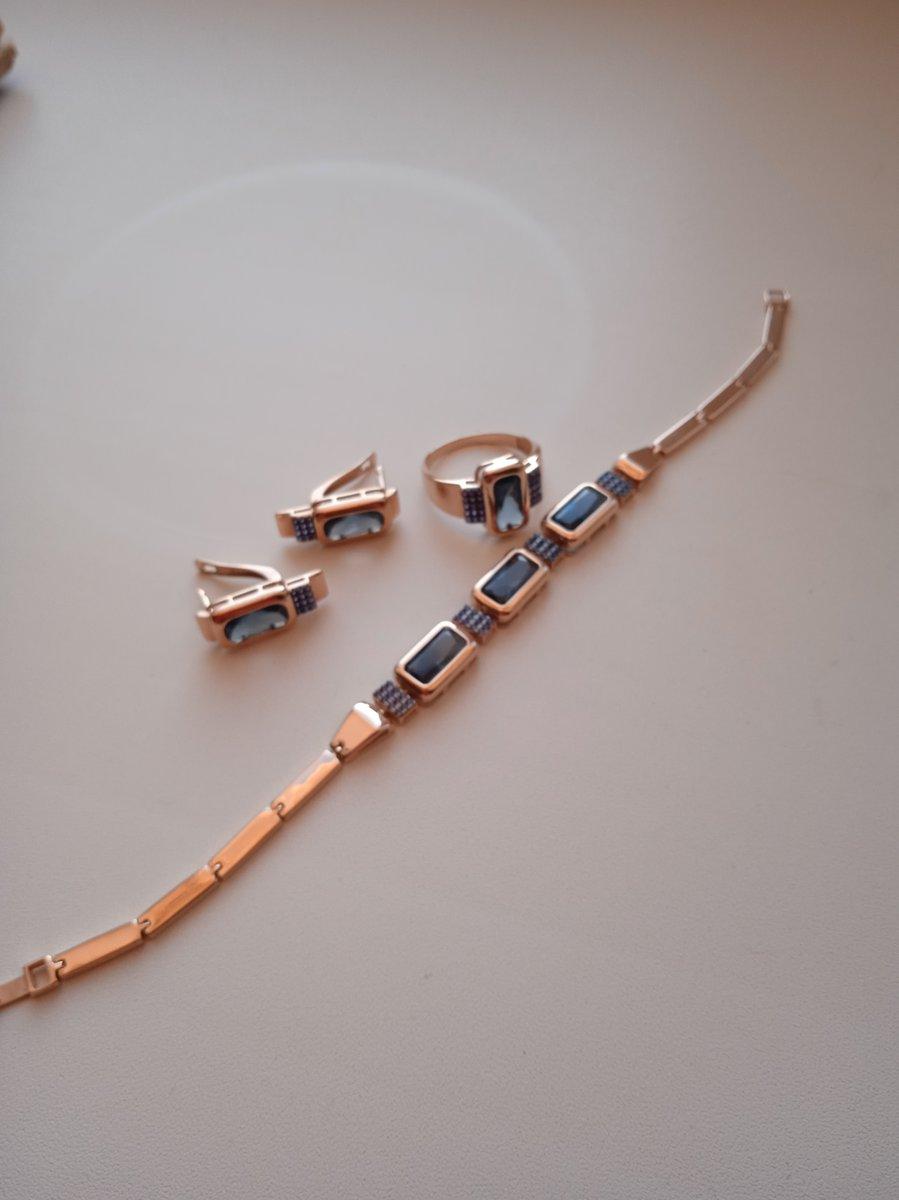 Серебряный браслет с сапфирами  и топазами
