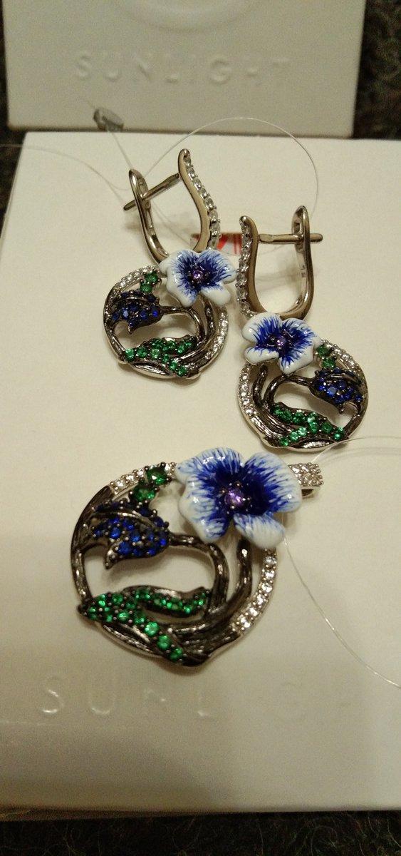 Серьги серебряные с цветными фианитами