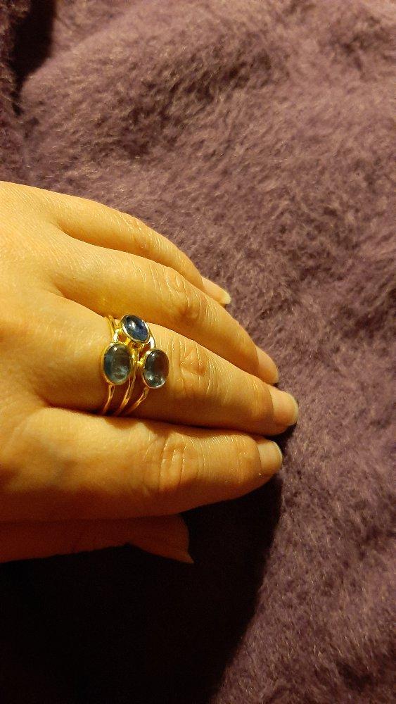 Кольцо из серебра с кианитом.