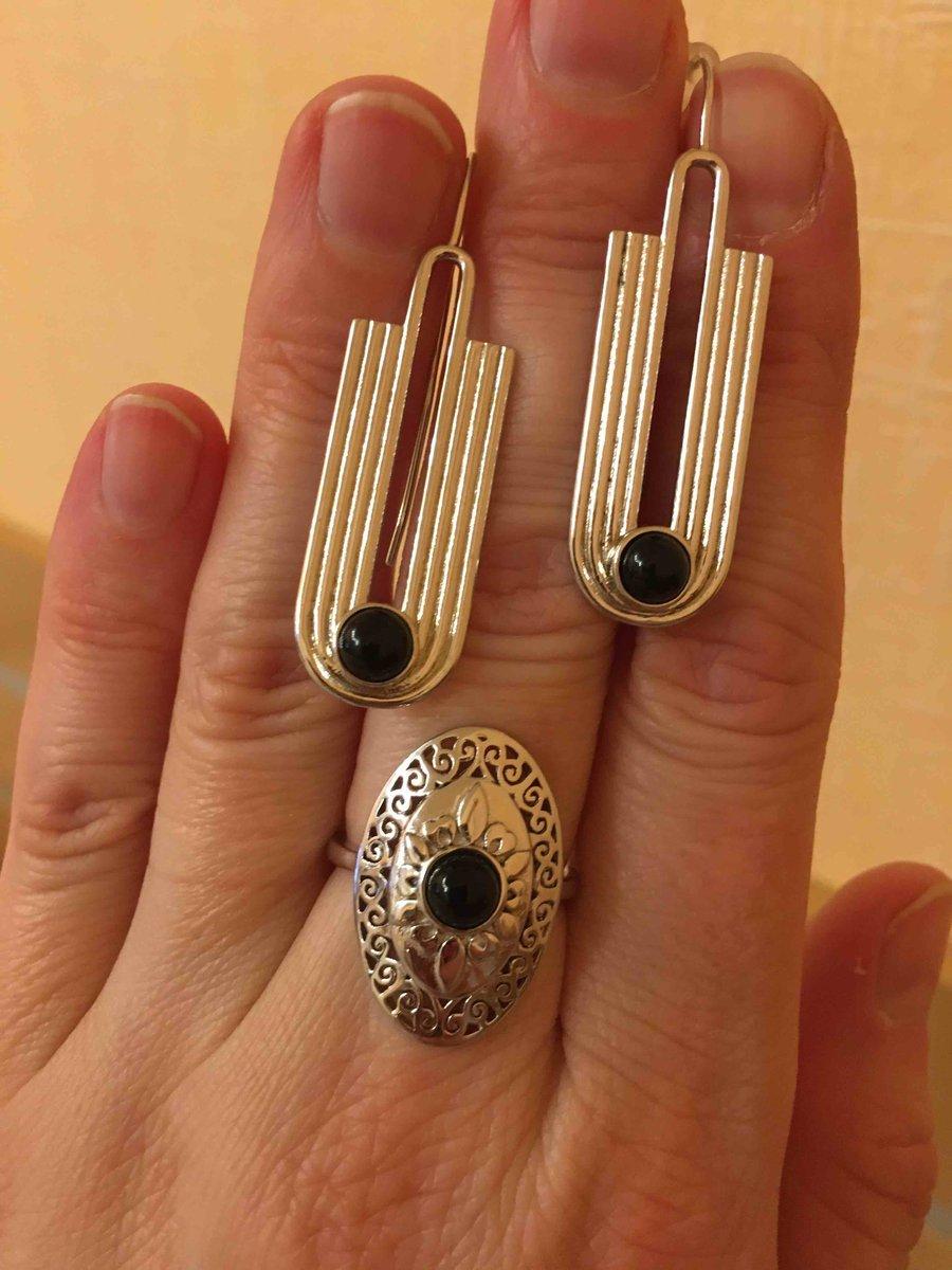 Серебряное кольцо с агатом из коллекции «этно»