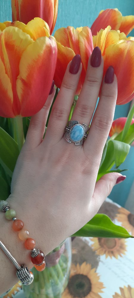 Кольцо с ларимаром -любовь ♡