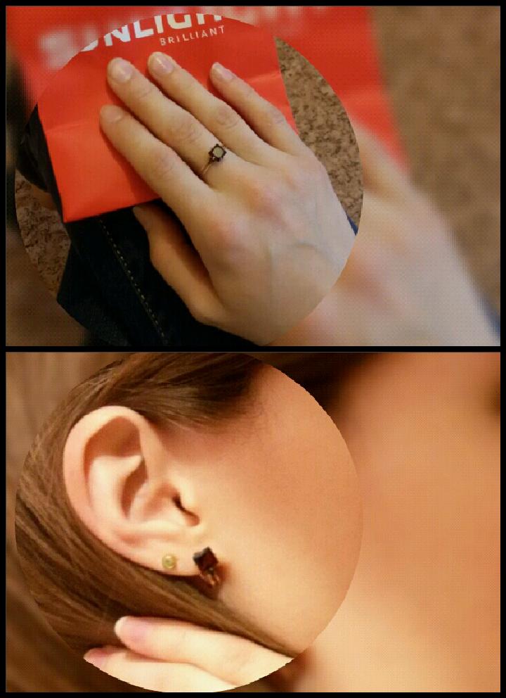 Кольцо и серьги с гранатом и бриллиантами