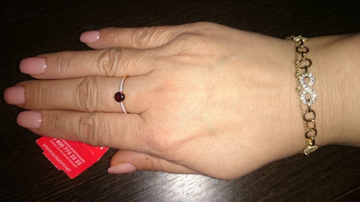 Кольцо 💍 с красным гранатом
