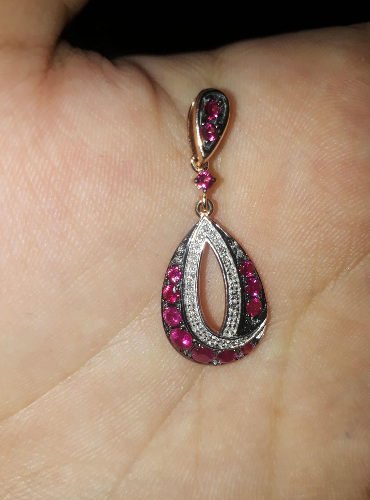 Кулон с рубинами и бриллиантами