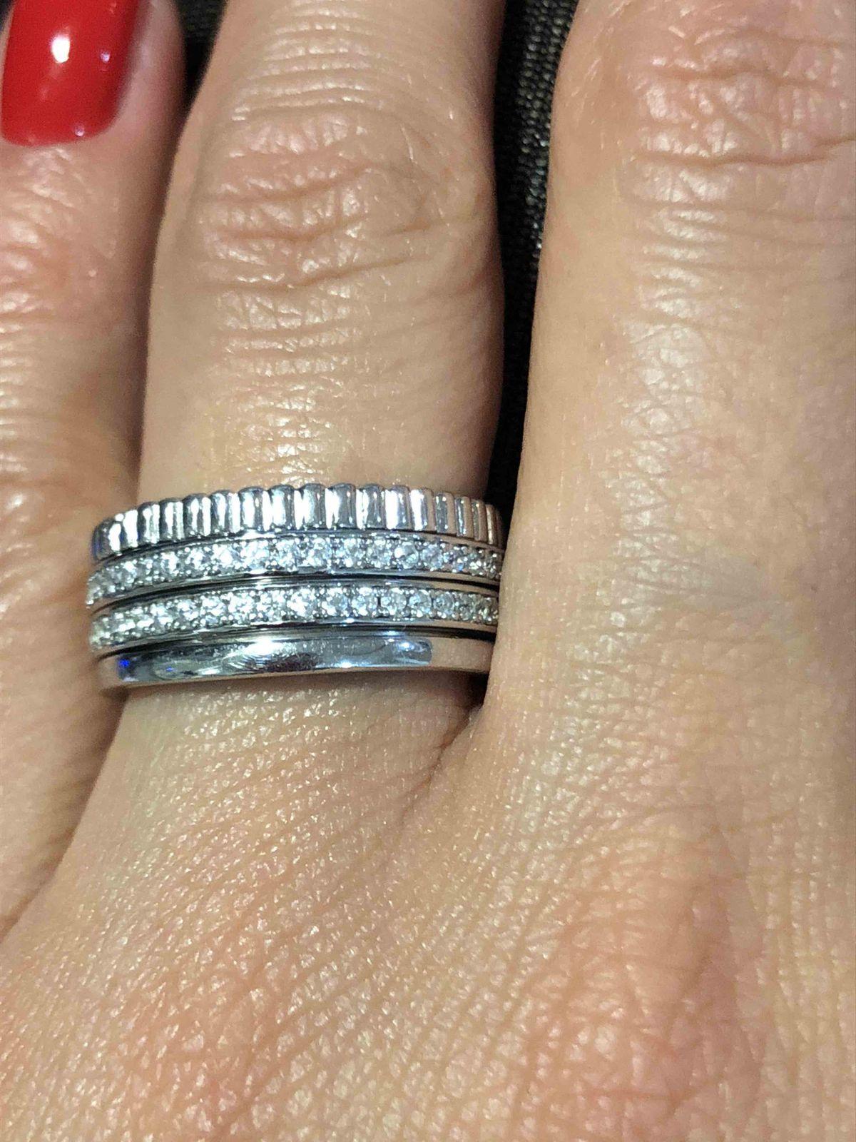 Кольцо широкое с камнями