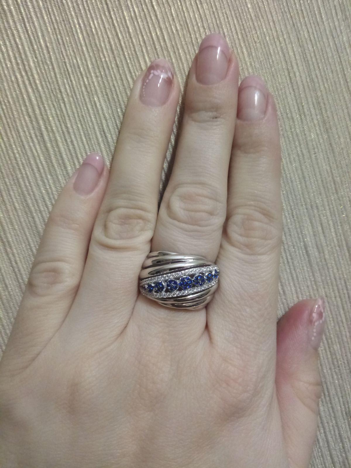 Кольцо с синими и белыми фианитами