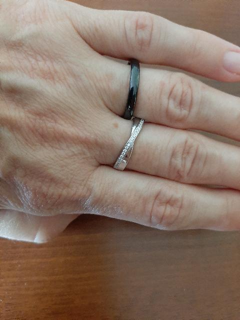 Двойное керамическое кольцо с фианитами