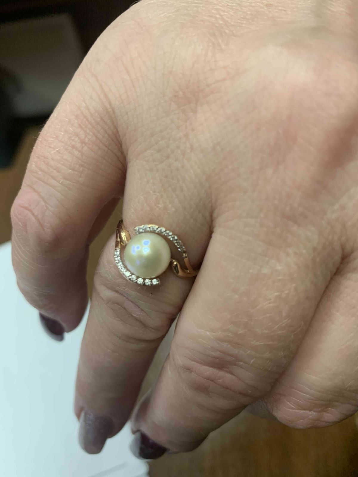 Кольцо с жемчугом и фианитом , прекрасное нежное