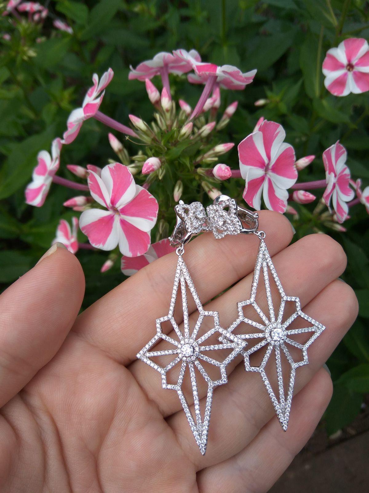 Серьги серебряные в форме звёзд