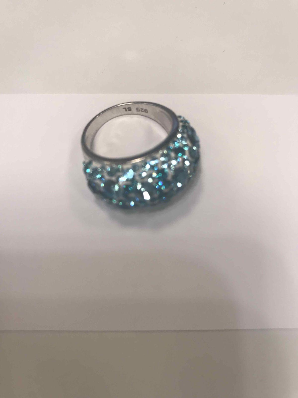 Кольцо серебряное с голубыми кристаллами Сваровски