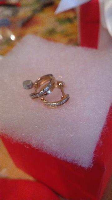 Серьги из  красного золота с белыми и черными бриллиантами, двухсторонние