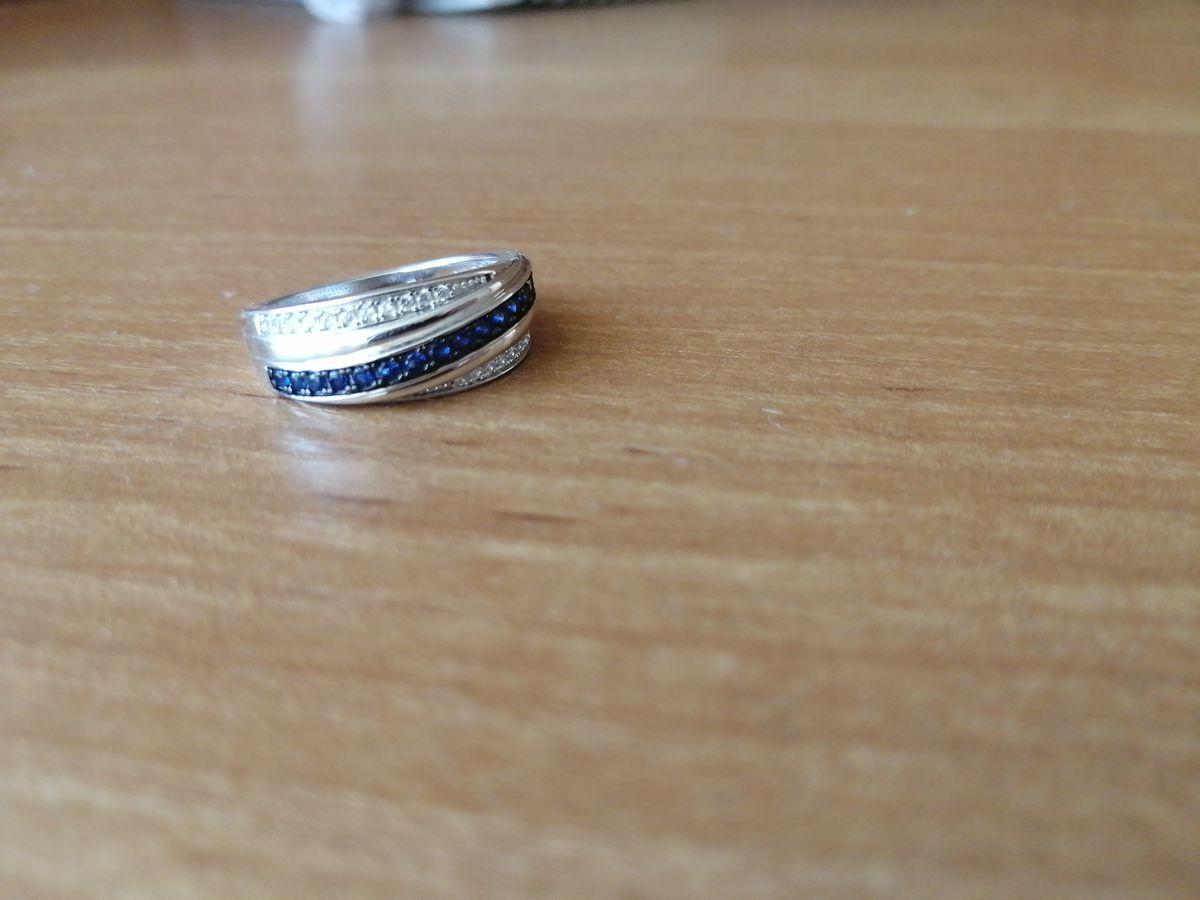 Серебряное колечко с синими фианитами