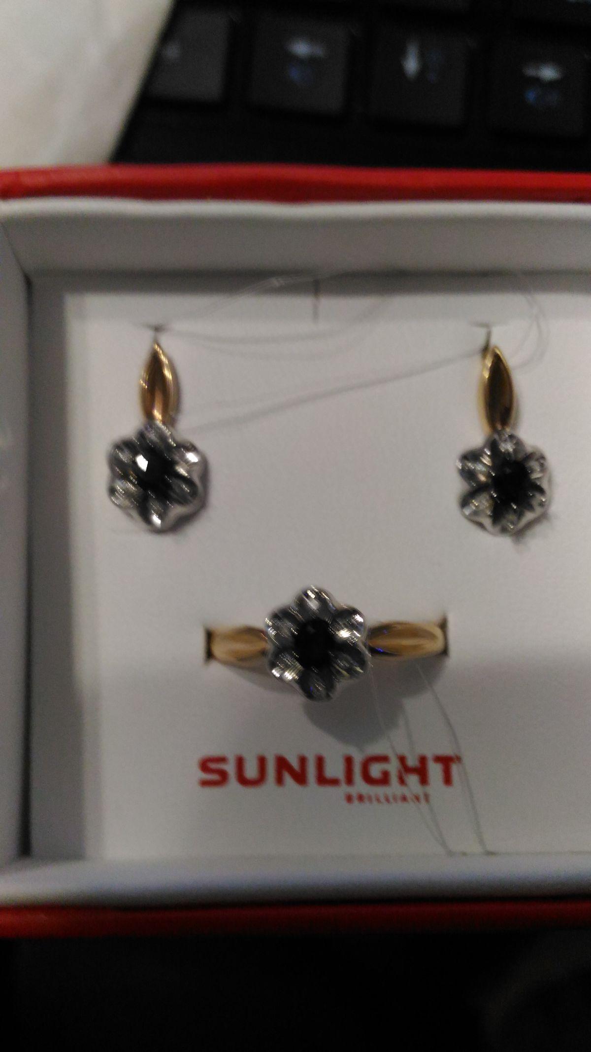 Кольцо сапфир +бриллианты